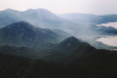 Aerial view on nature landscape to mountains Stock Images
