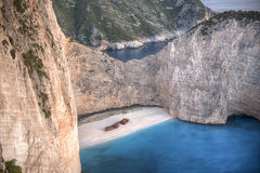 Aerial view of Navagio Beach, Zakynthos Royalty Free Stock Photography