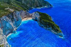 Aerial view of Navagio Shipwreck Beach in Zakynthos island, Gr. Eece. Navagio Beach is a popular attraction among tourists visiting the island of Zakynthos Royalty Free Stock Photo