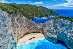 Aerial view of Navagio (Shipwreck) Beach in Zakynthos island, Gr. Eece. Navagio Beach is a popular attraction among tourists visiting the island of Zakynthos Stock Photos