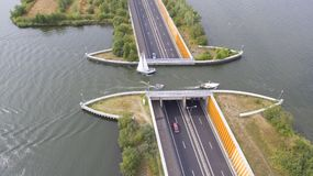 Aerial view on a navigable aqueduct Royalty Free Stock Photography