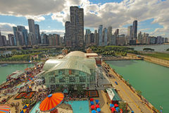 Aerial view of Navy Pier and the Chicago, Illinois skyline Royalty Free Stock Photography
