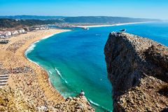 Aerial view of Nazare city, Portugal royalty free stock photos