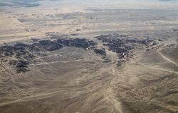 Aerial View of the Nazca Desert. Not far from Nazca, Peru royalty free stock image