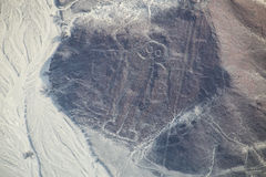 Aerial view of Nazca Lines - Astronaut geoglyph, Peru. Stock Photography