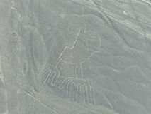 Aerial view of Nazca Lines - Hands geoglyph, Peru. Royalty Free Stock Images