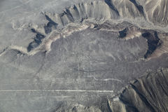 Aerial view of Nazca Lines - Hummingbird geoglyph, Peru. Stock Photography
