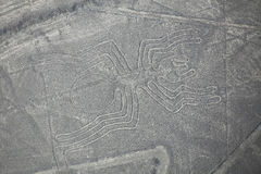 Aerial view of Nazca Lines - Spider geoglyph, Peru. Stock Photo