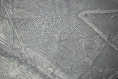 Aerial view of Nazca Lines - Spider geoglyph, Peru. Stock Photography