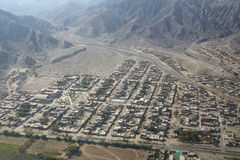 Aerial view of Nazca town in Peru. Royalty Free Stock Photography
