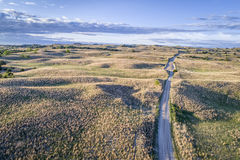 Aerial view of Nebraska Sandhills. Aerial view of sandy road in Nebraska Sandhills near Seneca, spring scenery with morning light Royalty Free Stock Photography