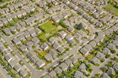 Aerial View of Neighborhood. Small neighborhood in urban area Royalty Free Stock Images