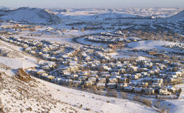 Aerial View of Neighborhood. Suburban neighborhood in winter, from above Stock Photos