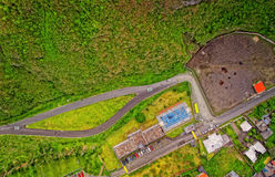Aerial View Of Neighborhood In Banos, Ecuador. Aerial View Of Neighborhood In Banos De Agua Santa, Latin American City, Tungurahua Province, South America Stock Images