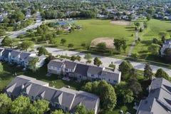 Neighborhood Townhouse Playground Aerial royalty free stock photos