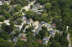 Aerial View Neighborhood Houses, Homes, Residences Royalty Free Stock Image