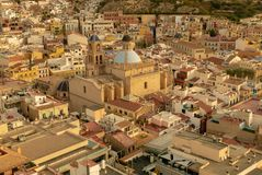 Aerial view of the neighborhood of Santa Cruz and the co-cathedral of San Nicolas in Alicante royalty free stock photography