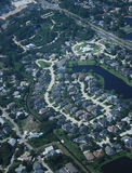 Aerial view of neighborhood subdivision, houses and homes Royalty Free Stock Photo