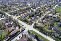 Aerial View of Suburban Neighborhood. Aerial view of a neighborhood in the suburban Chicago area with homes and intersecting streets Royalty Free Stock Image
