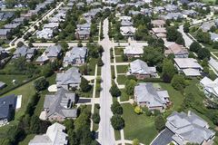 Neighborhood Aerial View. Aerial view of a neighborhood in suburban Chicago during summer royalty free stock image