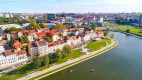 Aerial view of Nemiga, Minsk. Belarus royalty free stock photography