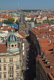 Aerial view of Nerudova street  in Prague Royalty Free Stock Photography