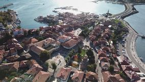 Aerial view of Nessebar, ancient city on the Black Sea coast of Bulgaria stock footage