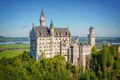 Aerial view of Neuschwanstein castle, Bavaria Germany. Aerial view of Neuschwanstein castle, Bavaria, Germany Royalty Free Stock Image