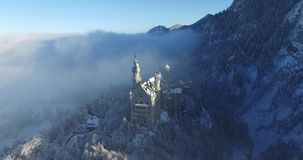 Aerial view of Neuschwanstein Castle at sunrise in stock video
