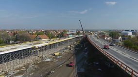 Aerial view of the new bridge construction. stock video footage
