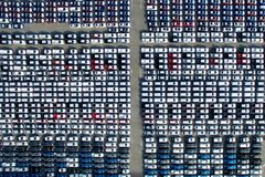 Aerial view of new car storage parking lot. Stock Photo