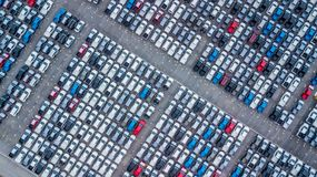 Aerial view new cars lined up in the port for import and export,. Top view of new cars lined up outside an automobile factory for import & Export Stock Photography