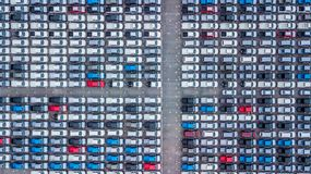 Aerial view new cars lined up in the port for import and export,. Top view of new cars lined up outside an automobile factory for import & Export Royalty Free Stock Image