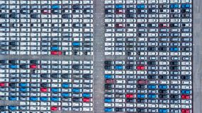 Aerial view new cars lined up in the port for import and export,. Top view of new cars lined up outside an automobile factory for import & Export Stock Image