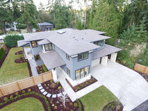 Aerial view of new construction home stock photo