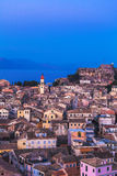Aerial view from New fortress on the city with St. Spyridon chur Stock Photography