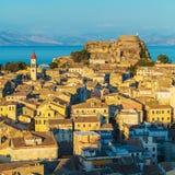 Aerial view from New fortress Kerkyra, Corfu island, Greece Stock Image