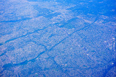 Aerial view of New Jersey. Aerial view of high population density of New Jersey, and New York, USA stock photo