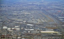Aerial view of the New Jersey turnpike and Newark Liberty International Airport Stock Photography