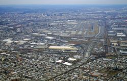 Aerial view of the New Jersey turnpike and Newark Liberty International Airport Royalty Free Stock Photo