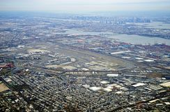 Aerial view of the New Jersey turnpike and Newark Liberty International Airport Stock Photos