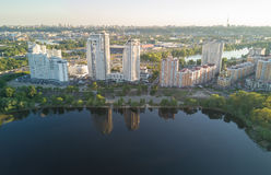 Aerial view of new modern residential Obolon district near Dnieper river in Kiev city Stock Images