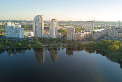Aerial view of new modern residential Obolon district near Dnieper river in Kiev city Royalty Free Stock Photography