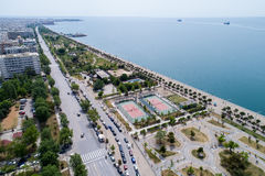 Aerial view of the new park and the waterfront of the city of Th. Thessaloniki , Greece - May 1, 2017: Aerial view of the new park and the waterfront of the city Royalty Free Stock Photos