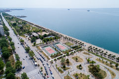Aerial view of the new park and the waterfront of the city of Th. Thessaloniki , Greece - May 1, 2017: Aerial view of the new park and the waterfront of the city Stock Photo