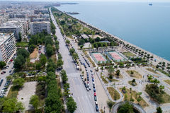 Aerial view of the new park and the waterfront of the city of Th. Thessaloniki , Greece - May 1, 2017: Aerial view of the new park and the waterfront of the city Royalty Free Stock Photography