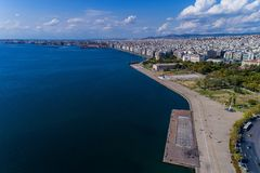 Aerial view of the new park and the waterfront of the city Thess. Aloniki, Greece Stock Photography