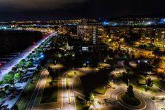 Aerial view of the new park and the waterfront of the city of Th. Aerial view of the new park and the waterfront of the city Thessaloniki at night , Greece Stock Photography
