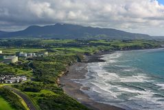 Aerial view of New Plymouth and the coastline from Paritutu Rock in New Zealand. Aerial view of New Plymouth and the coastline from Paritutu Rock in New Plymouth royalty free stock image