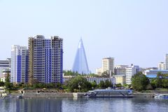 Aerial view of Pyongyang, capital city of the DPRK, North Korea stock photo